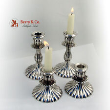 Set of 4 Candlesticks Fluted Design Sterling Silver Peru