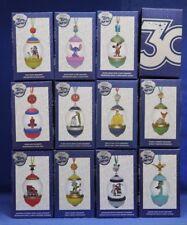 Disney Store 30th Anniversary 12 Pc Snowglobe Sketchbook Ornament Collection Set