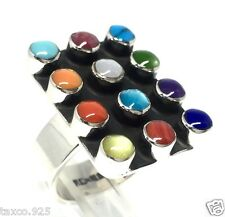 Multi Inlay Adjustable Ring Mexico Taxco Mexican 925 Sterling Silver