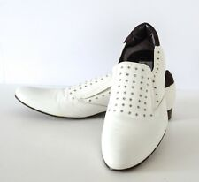 Soulier Vero Cuoio White Leather Silver Accent Loafers 44, 11 Made in Italy