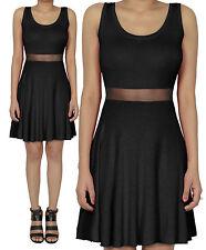 Black Mesh Contrast Sleeveless Flared Skater Swing Mini Casual Dress