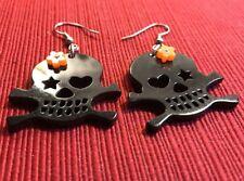 Black Skull and Crossbone Earrings With Flower Rockabilly Punk Halloween