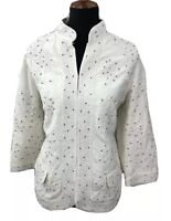 Chico's Womens Embellished Jacket Top Beaded Embroidered Ivory Sz 2 Large 12