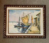 Vintage Framed Signed Oil Painting Sailing Boats Dock Harbor Scene Calif. Artist