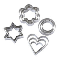 12pcs Cookie Cutter Set Stainless Steel Cake Mold Flower/Star/Heart Shape Making