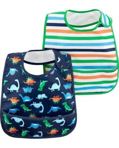 Carter's Water Resistant Bib Set NEW Dinosaur Stripes Boy