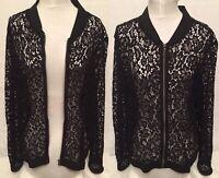 Joe Fresh Sheer Lace Size XL Bomber Jacket Black Full Zip Woman New With Tag