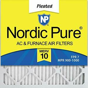 Nordic Pure 18x18x1 MERV 10 Pleated AC Furnace Air Filters 12 Pack