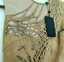 Catherine Deane Suede Laser Cut Silk Designer Dress in Nude Beige sz 6