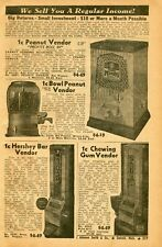 1940 small Print Ad of Peanut Vendor, Hershey Bar & Chewing Gum Vending Machine