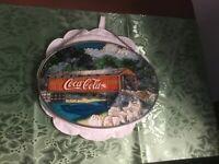 ORIGINAL COCA COLA STAINED GLASS WINDOW SUNCATCHER OVAL COVERED BRIDGE 1997
