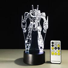 3D Anime GUNDAM Night Light Acrylic LED Table Desk Lamp Art Distance Control