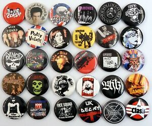 PUNK BADGES 30 x New and Vintage Pin Badges * The Damned * Crass * Sex Pistols