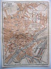 stampa antica old print antique map Poland Polska Stettin Stettino SZCZECIN 1914
