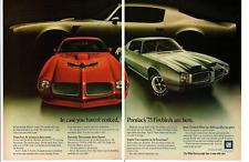 1973 PONTIAC FIREBIRD TRANS AM & FORMULA 400 ~ ORIGINAL 2-PAGE PRINT AD