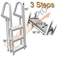 PONTOON BOAT HEAVY DUTY ALUMINUM 3 STEP REMOVABLE BOARDING LADDER AL-A3
