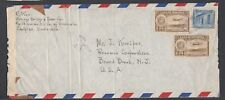 VENEZUELA 1940s WWII CENSORED AIRMAIL COVER CARIPITO TO NEW JERSEY USA