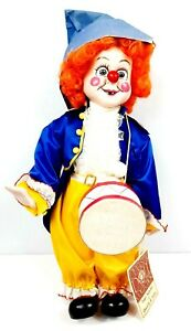 """Vintage 19"""" Porcelain Dynasty Doll Collection """"HAPPY THE DRUMMER"""" Clown"""