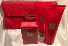 AVON 'Little Red Dress' 3-Piece Perfume Set w/ Red Ostrich Embossed Clutch(Rare)