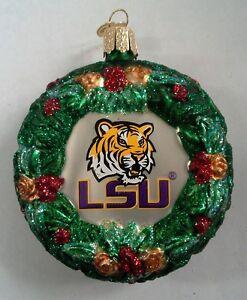 LSU Tigers Wreath Glass Ornament Collegiate OWC