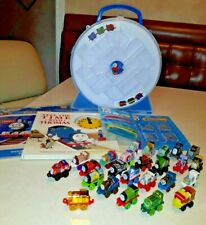 Thomas Friends Minis +  Case, 25 minis with gold thomas, time book, 3 party sets