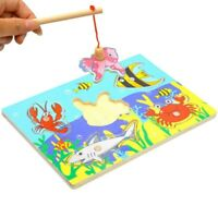 Wooden Magnetic Fishing Game 3D Jigsaw Puzzle Board Baby Kid Educational Toy Set