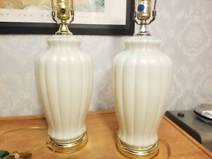 《》MCM     Vintage Painted Inside Glass and Brass  Base Lamps Set    《》