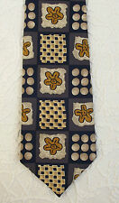 Mens silk tie Navy blue check pattern Gold flowers TOM SALTO floral design