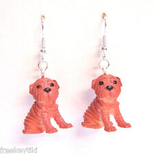 "NEW Shar Pei Dogs Puppies 1"" Mini Figures Figurines Dangle Earrings"