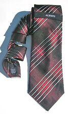 NEW Mens Silk Tie Necktie Black Cranberry Silver Diagonal Stripe by Alfani A1390