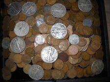 Vintage Antique Hoard 50 Mixed Wheat Cents & 1 (ONE) Walking Liberty Half Dollar