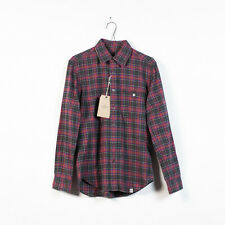new mens QUENCHLOUD maroon and gray cotton flannel zip collar shirt size S