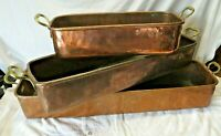 """Large Copper Hand Wrought Dovetailed Set Window Sill  Planters 34""""/28""""/ 19"""""""