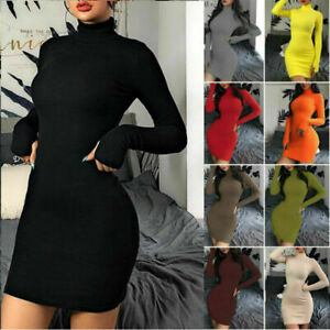 UK Womens Ladies High Neck Bodycon Long Sleeve Stretchy Mini Jumper Ribbed.Dress