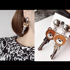 TEDDY BEAR KEY Drop Earrings Fashion Statement Sliver Trendy Moschino