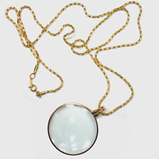 """5X Necklace Magnifier Pendant Magnifying Loupe Gold Finish 1 3/4"""" Glass Lens"""