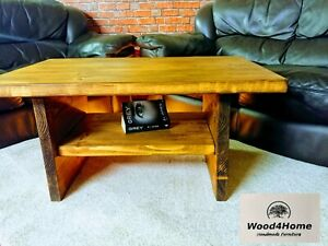 Large Coffee Table with Shelf , Rustic 9 colours availabl Wax Solid Wood Chunky
