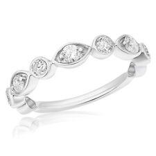 Evil Eye Wedding Band Anniversary Ring 14K White Gold Pave Bezel Round Diamond