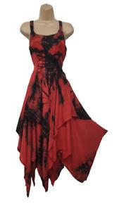 Tie Dye Maxi Corset Dress Summer Pixie Hem Red Black 10 12 14 16 18 20 22 24