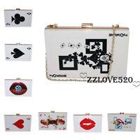 Women Handbag Poker Bag Clutch Crossbody Evening Bag Hard Box Shoulder Bag Purse