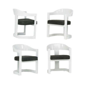 Set of Four Onassis White Lacquer Chairs Karl Springer Priced Per Chair