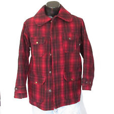 Vintage Woolrich Hunting Field Coat Plaid 1940s Size 42 Bird Duck Wool Heavy USA