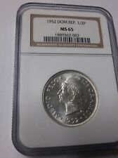 1952 Dominican Rep Silver 1/2 Peso NGC MS 65