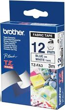 Brother P-touch TZe-FA3 (12mm x 3m) Blue On White Fabric Tape