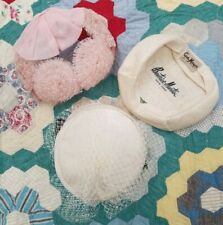 Vintage 1950s LOT of 3 Women's Hats Pillbox Netting Pink Ivory Straw Shell Cap