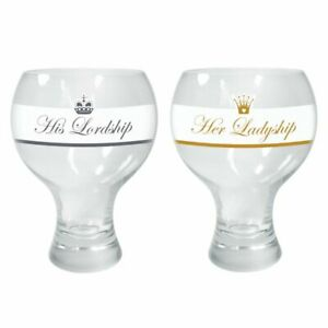 2 x His Lordship & Her Ladyship BALLOON GIN & TONIC Wine GLASS Thick Stem 520ml