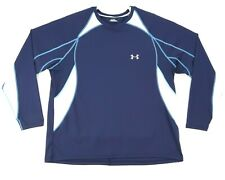 Under Armour Long Sleeve Activewear Shirt Mens Xxl Blue White Mesh Back Awesome!