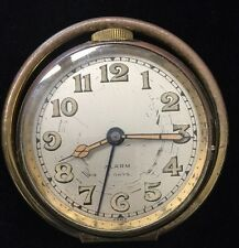 Vintage Travel Alarm Clock 8 Days Stand Up Case Large Numbers For Parts