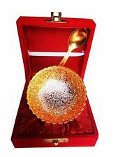 Royal Gold Silver Plated Brass Bowl with Spoon Set of 2 Pcs with Velvet Box