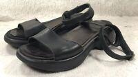 Dansko Sandals Flip Flops Womens Black Leather Ankle Strap Peep Toe Size 38 EUC